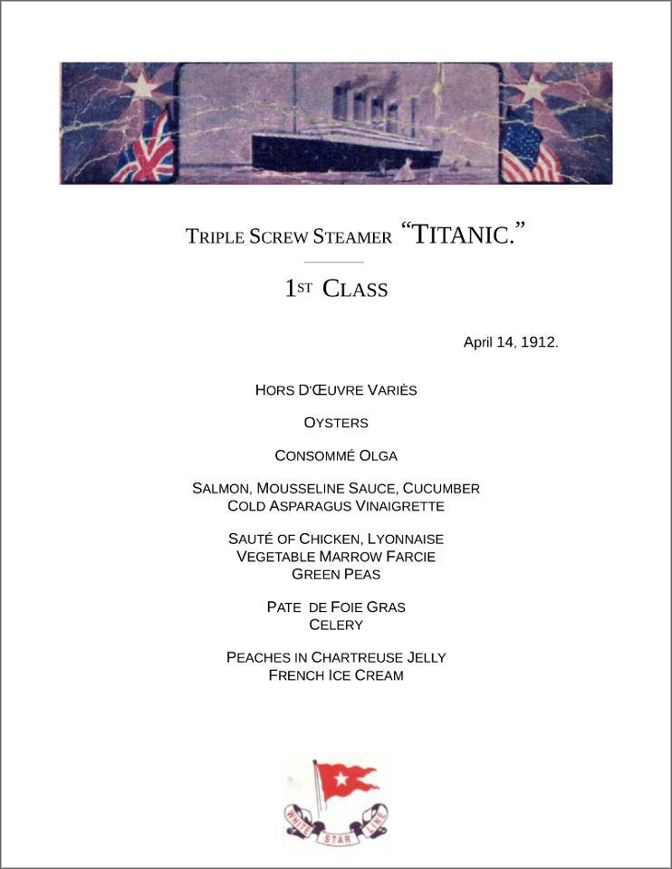 Titanic Lunch Menu Titanic Menu Canvas Print By Granger