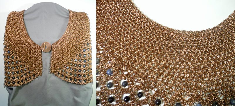 """Bronze & Blue"" capelet by Omni Mee"