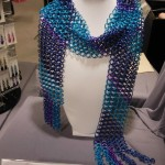 Blue and purple anodized aluminum chainmaille scarf