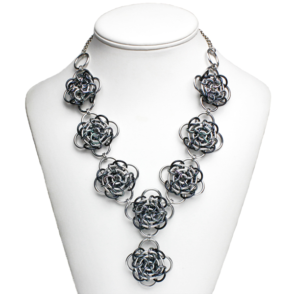 elegant chainmaille statement necklace black and white