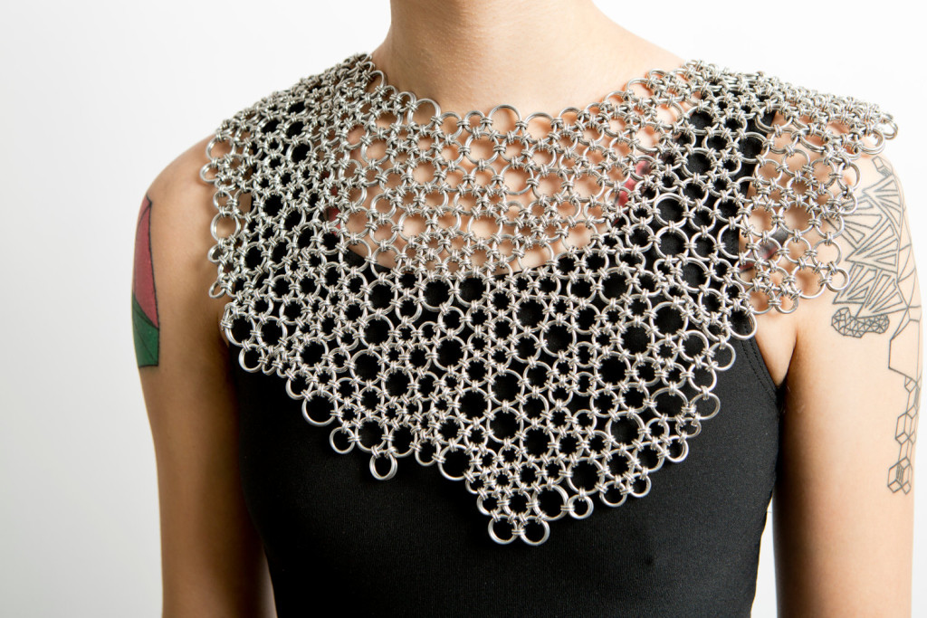 aluminum chainmaille Statement necklace by Sky Cubacb