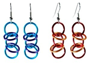 chain mail orbital weave earrings in water color and fire color
