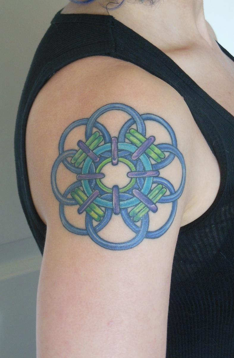 colorful quantum rose chain mail tattoo
