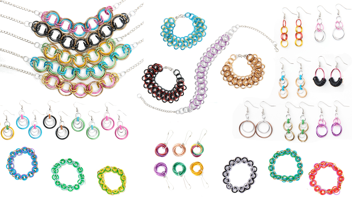 LInkt Craft Kits chainmaille bracelets, necklaces and earrings in a variety of colors