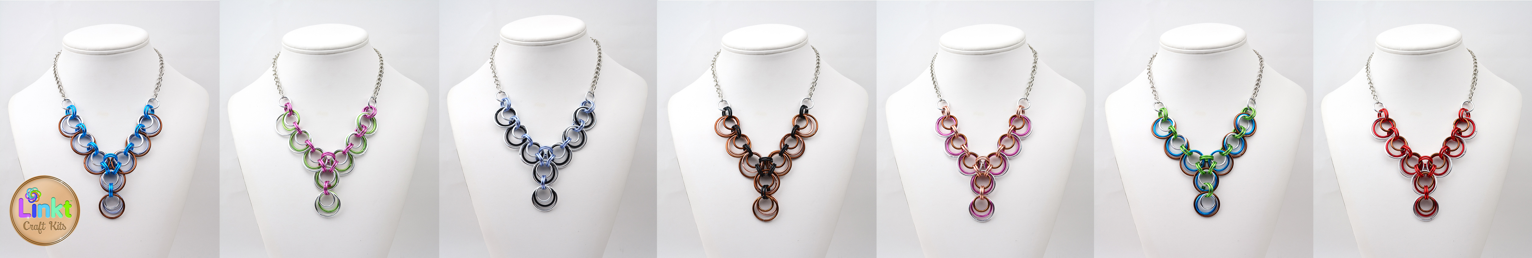 athena Y necklace - 7 different color schemes with Linkt Craft Kits logo