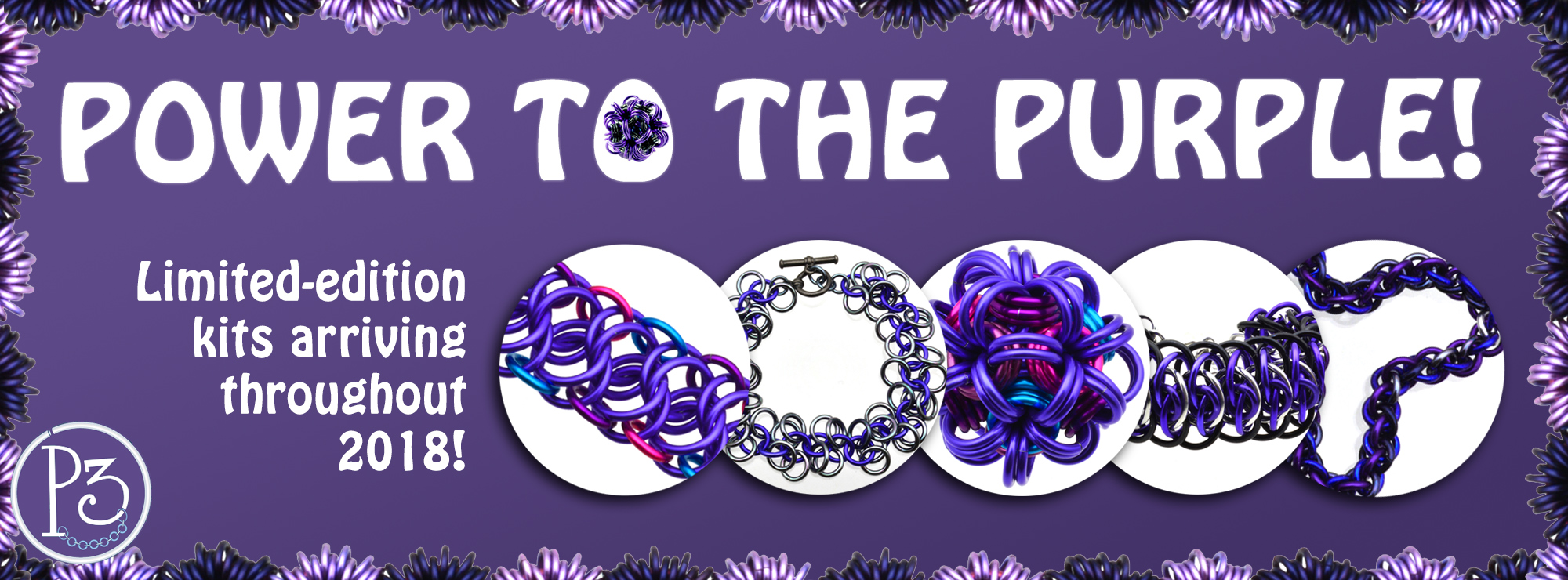 power to the purple banner with ultra violet chainmaille designs