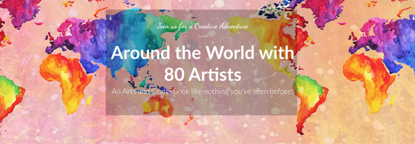 Around The World With 80 Artists header over watercolor map of earth