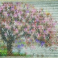 cherry blossom inlay made of chainmaille