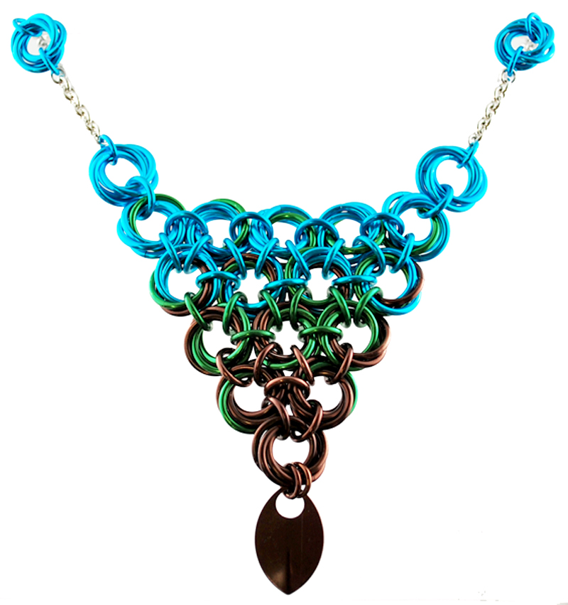 chainmaille necklace with scale in turquoise, green and brown