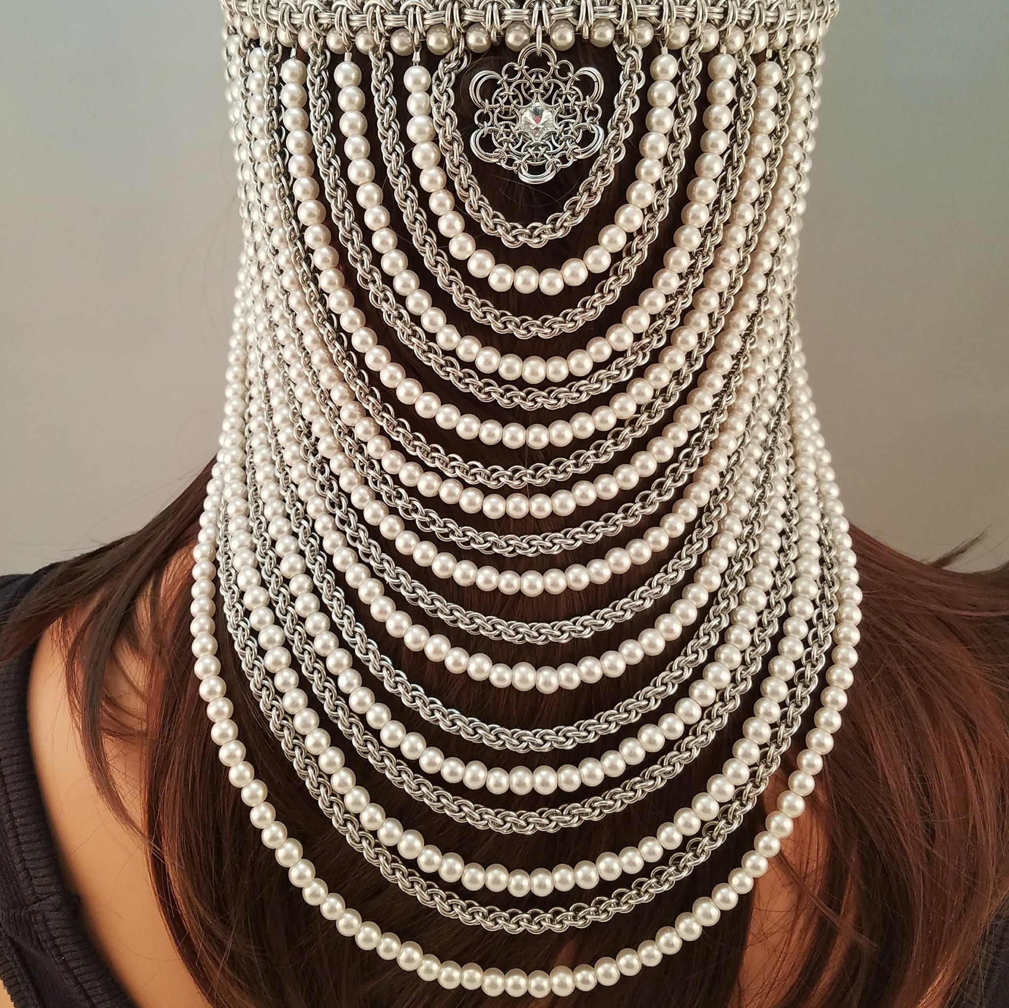 rear view of chainmaille and pearl headpiece