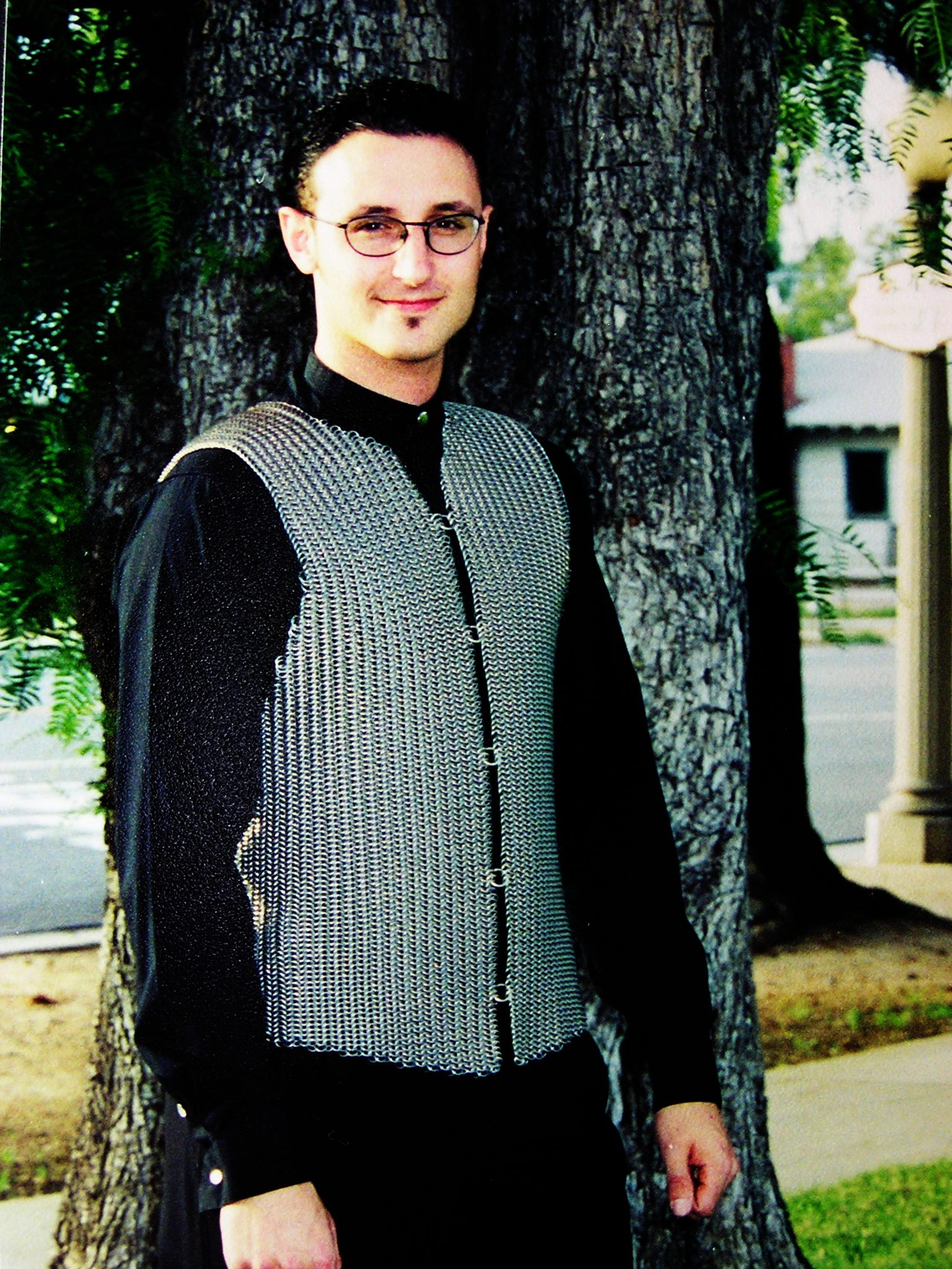 josh diliberto wearing handmade chainmaille vest