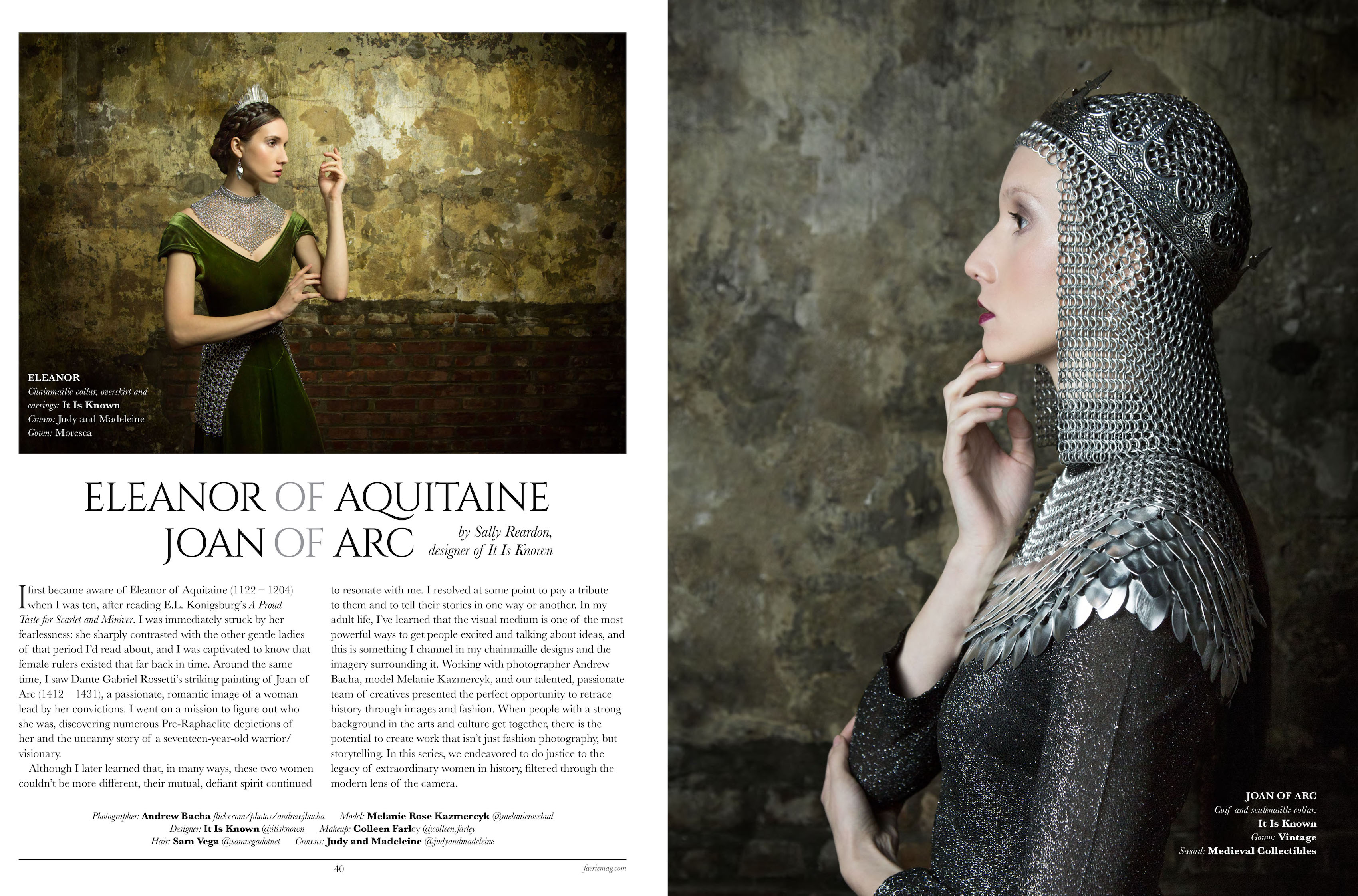magazine article and photo with Joan of Arc style chainmaille