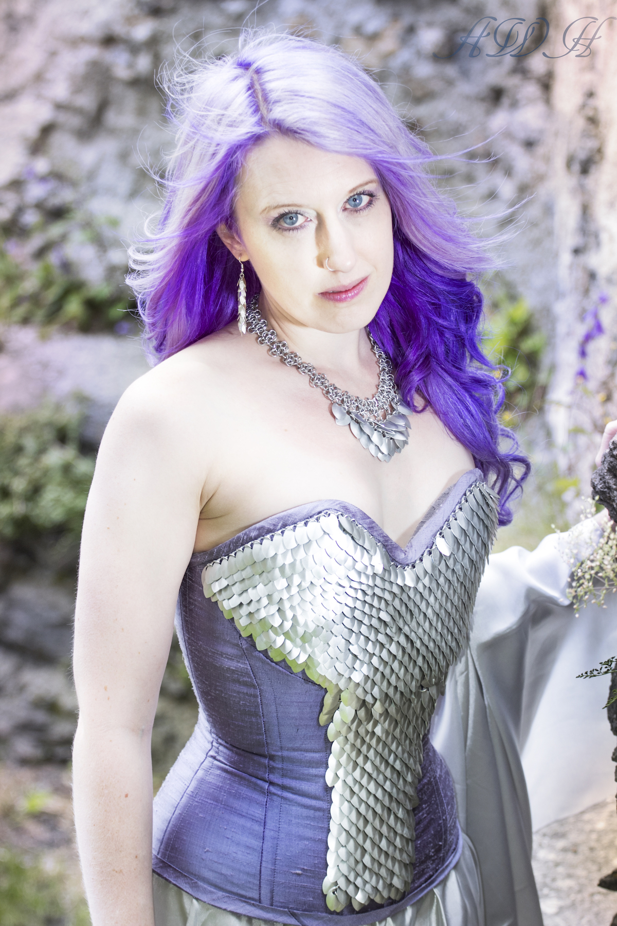 Fashion designer Sally wearing scalemaille corset