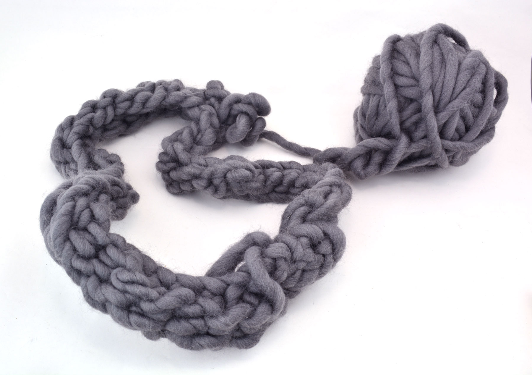 crochet fail - chunky grey yarn in a tight mess