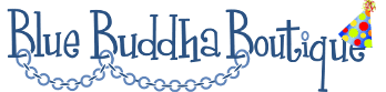 blue buddha boutique logo with celebration hat