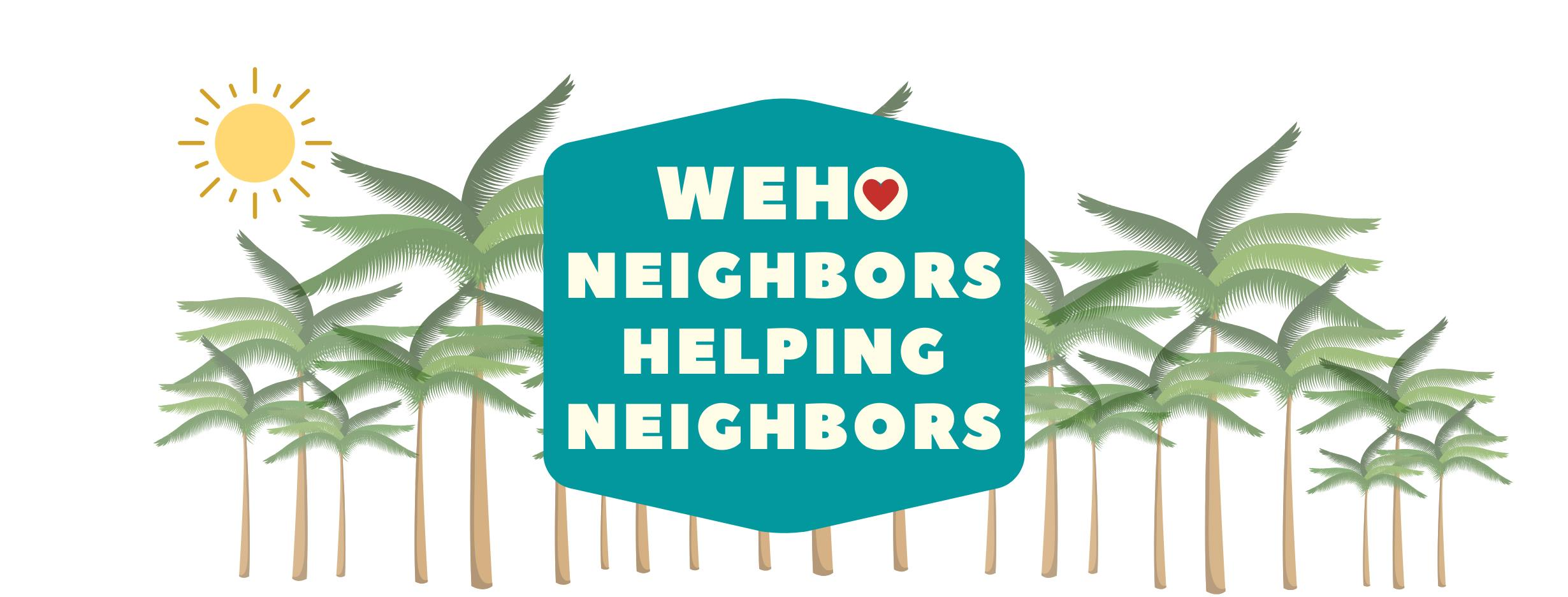 WeHo Neighbors Helping Neighbors green logo with palm trees in background