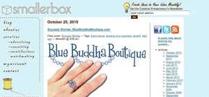 BlueBuddha logo and chainmail ring on the Smallerbox.net web site.