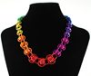 Barrel-Ride-Necklace, KIT - Rainbow Barrel Ride Necklace, rainbow barrel ride chainmaille necklace