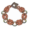 Crystal (cosmic) Ring Byzantine, KIT - Crystal Ring Byzantine - Copper with Cosmic Rings, luxurious chainmaille bracelet with copper and crystal rings