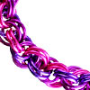 Double Spiral, Double Spiral - Pink, Violet & Purple AA, double spiral chainmail rope weave in pink and purple