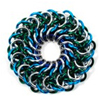 Elfweave Variations, Elfweave Variations, mandala elfweave chainmaille variation in blue and green