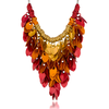 Elemental Leaves, KIT - Elemental Leaves - Water, scalemaille dramatic statement necklace in fire colors of red, orange and gold fade on a white background
