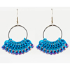 Beaded Fan Earrings, KIT - Beaded Fan Earrings Shopping List, European 4-1 chainmaille earrings in turquoise with blue beads