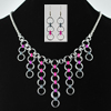 Japanese Cascade Necklace and Earrings, KIT - Japanese Cascade Necklace & Earrings - Aluminum w. Pink, Violet, & Iridescent Gunmetal, introductory chainnmaille pattern in japanese style bib necklace weave
