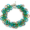 Shaggy Loops, KIT - Shaggy Loops, shaggy loops chainmaille weave bracelet in earth colors of brown, turquoise, blue and gold