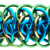 Viperscale 2.0, A. KIT - Viperscale 2.0 - Aluminum w/ Black & Purple SAVE 20%, Viperscale 2.0 chainmail bracelet in turquoise, lime and gold by Rebeca Mojica