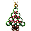 Holiday Ornament (Christmas Tree), KIT - Holiday Ornament - Christmas Tree w/ Multi Mix Ornaments, chainmaille christmas tree ornament