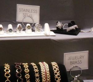 handmade stainless steel rings and brass bracelets