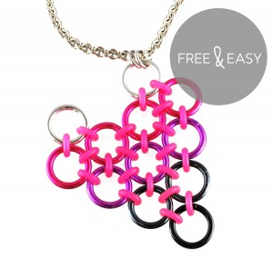 pink to black chainmaille heart