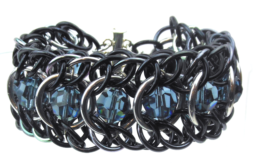 grey crystal and chainmaille bracelet by Rebeca Mojica