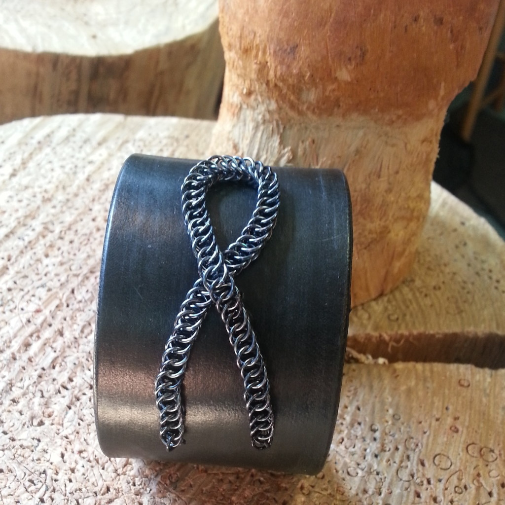 Brain Tumor Awareness cuff with grey chainmaille and black leather.