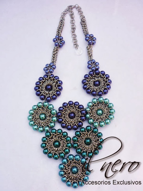 Il Nero chainmaille and beaded necklace