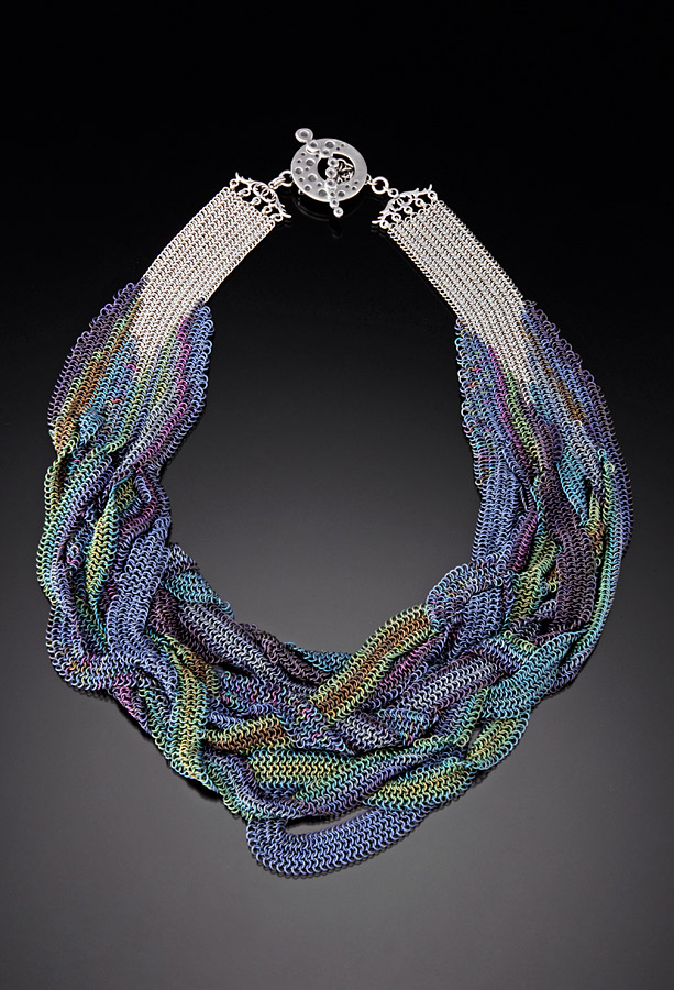chainmaille necklace in anodized titanium by rebeca mojica