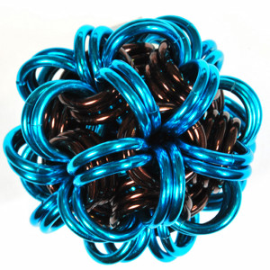 chainmail dodec in brown and turquoise
