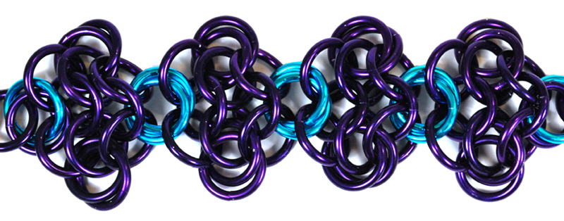 mobiused rosettes in purple and turquoise