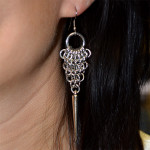 chainmaille spike earring on model