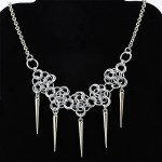 chainmaille rosettes spike necklace