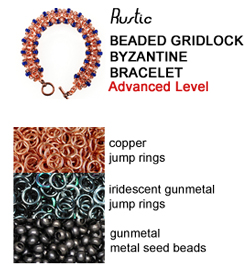 chainmaille gridlock byzantine bracelet in copper