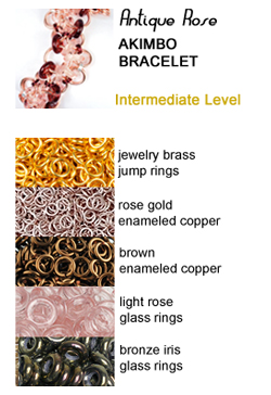 chainmaille akimbo bracelet in gold, rose and brown