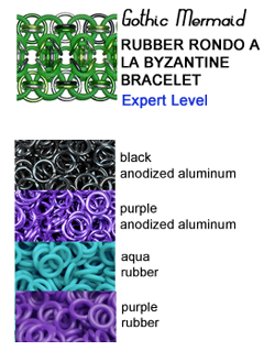 rondo a la byzantine rubbermaille in purple, turquoise and black