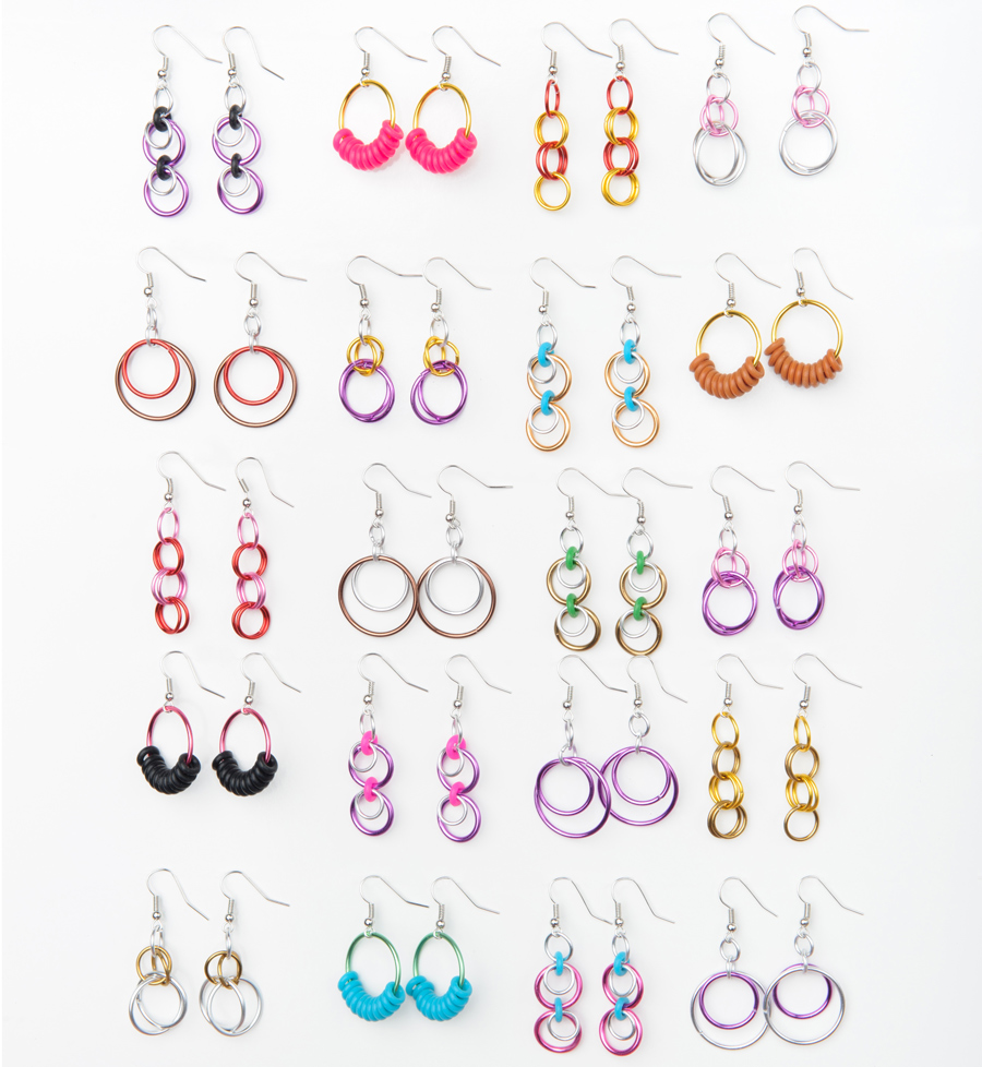 chainmaille earrings in a variety of colors and styles from Hoops and Loops Linkt Craft Kits