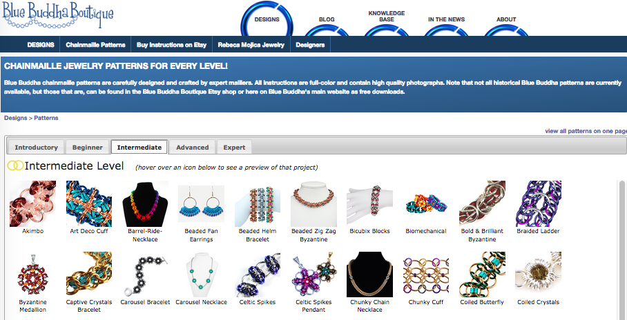 screenshot of blue buddha boutique website chainmaille designs page
