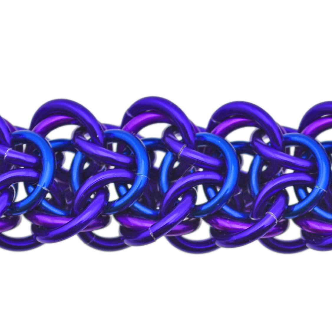 elfweave braid chainmaille weave in purple