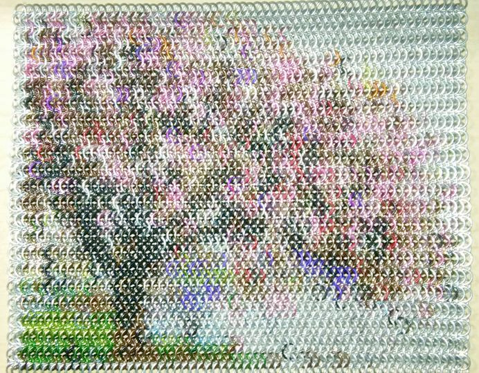 cherry blossom tree in bloom made of chainmaille