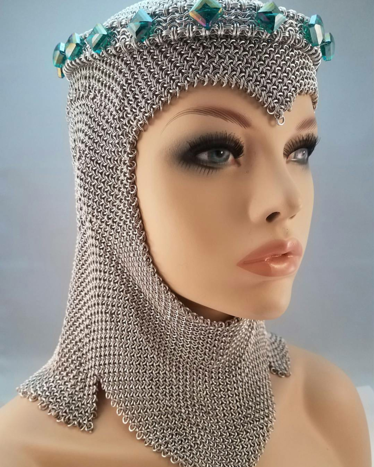 aluminum Hoodoo Hex chainmail coif by Lisa Ellis on mannequin
