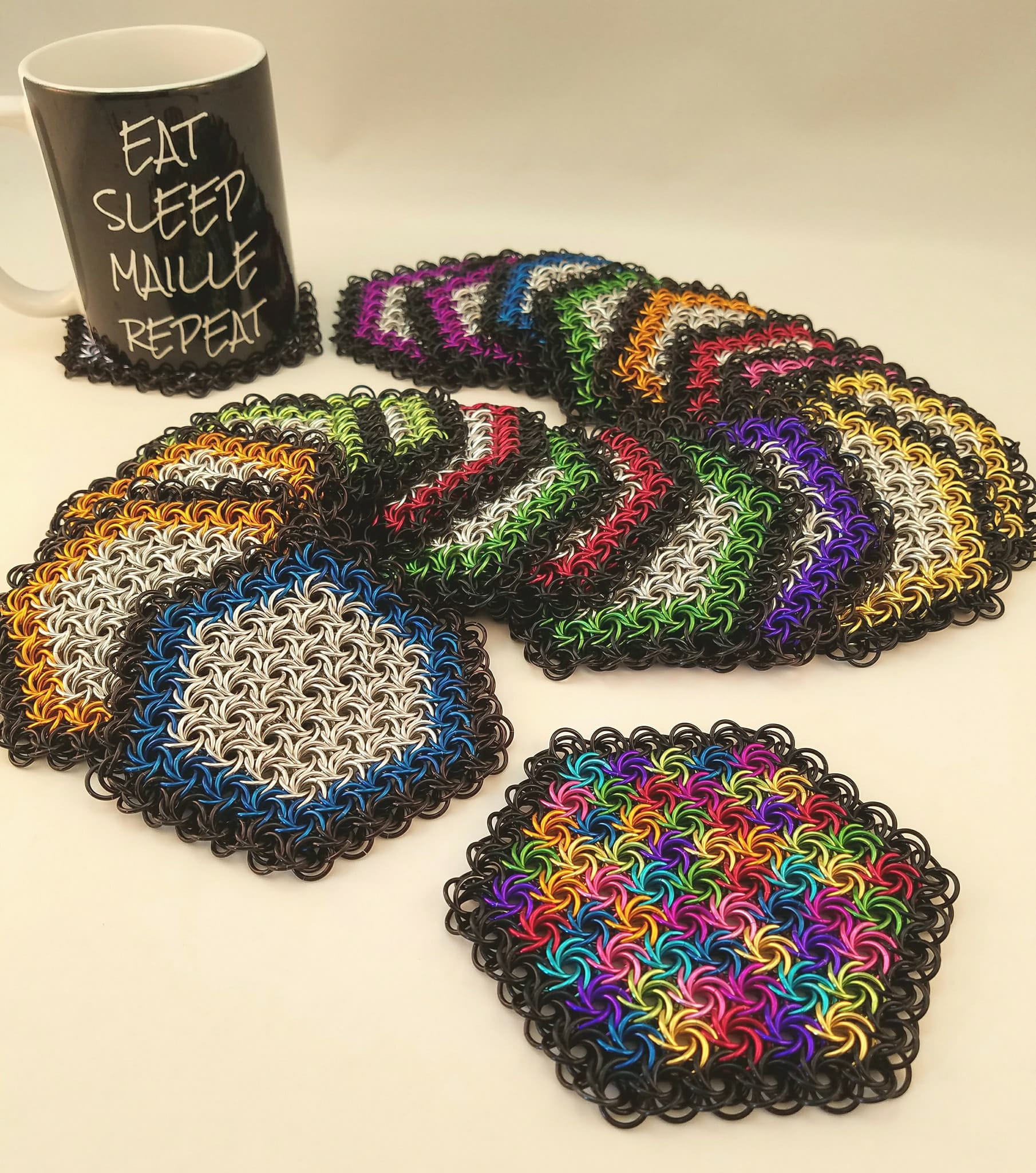 Colorful Moorish Rose Chainmaille Coasters and Mug